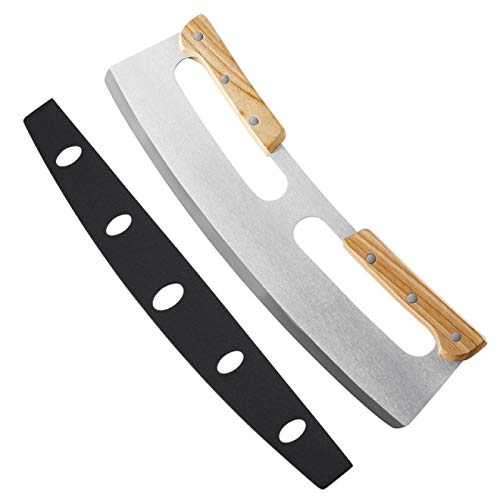 CHUKESM Pizza Cutterpizza Cutter Rocker Stainless Steel With Double Wooden Handle 14 Inch Upgraded Sharp Pizza Slicer Knife Chopper
