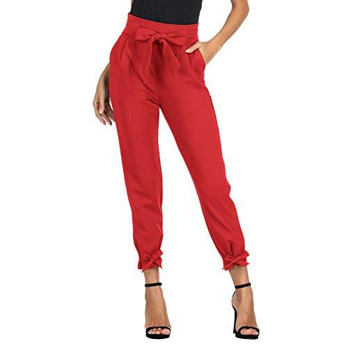 GRACE KARIN Damen Hose Carpi Hose Schleife Hose 9/10 Elegant Schleife Hose Freizeithose mit Taschen L RotCL010903-10