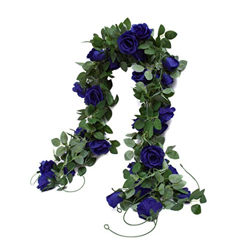 Huata 3PCS 6.56Ft Artificial Rose Flower Silk Vine Hanging Wedding Decor Garlands Home Outdoor Indoor Decor Flower (Blue)