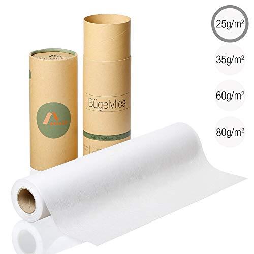 Amazy Fieltro para manualidades (blanco | 25 g / m2) - Rollo de fieltro adhesivo ideal para reforzar ropa, mantas y bolsas, para aplicaciones y para patchwork (9 x 0,4 m)