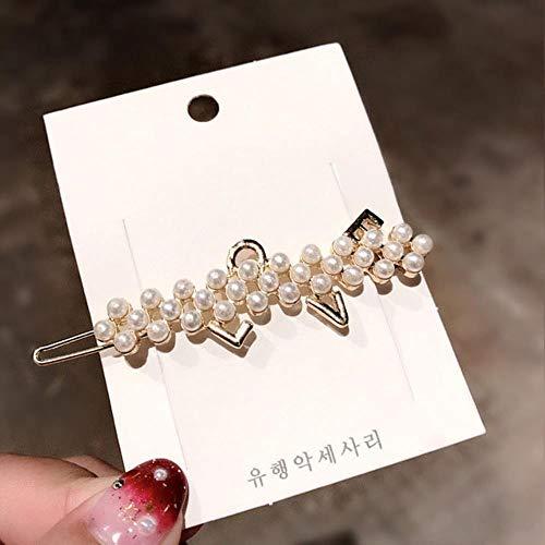 Nouveau De Luxe Cristal Perles Coeur Arc Épingles À Cheveux Géométrique Pour Les Femmes Bandeau Doux Cheveux Clips Barrettes Accessoires De Cheveux De Mode, 6