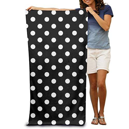 Annays zwarte en witte stippen lichtgewicht absorberende sneldrogende SPA handdoeken badpak bad en douche handdoek strand deken voor vrouwen, mannen 80x130cm