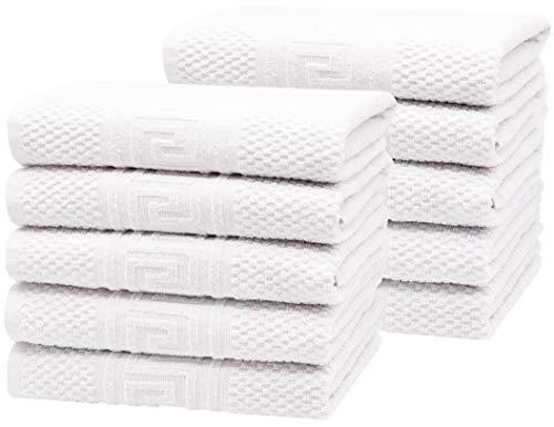 ZOLLNER 10er Set Handtücher, ca. 50x100 cm, 100% Baumwolle, 340g/qm, weiß