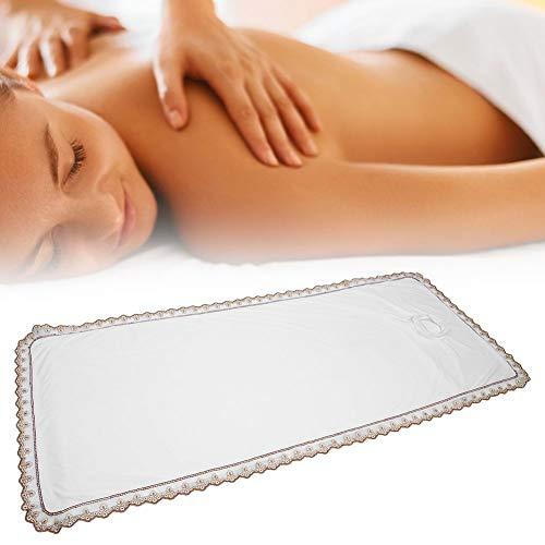 Professioneel spa-massagetafel-afdekblad, massage-hoeslaken SPA-behandelingsbedovertrek massagebedovertrek met gat, prachtige snoerrand voor beauty SPA-winkel of thuis(Wit)