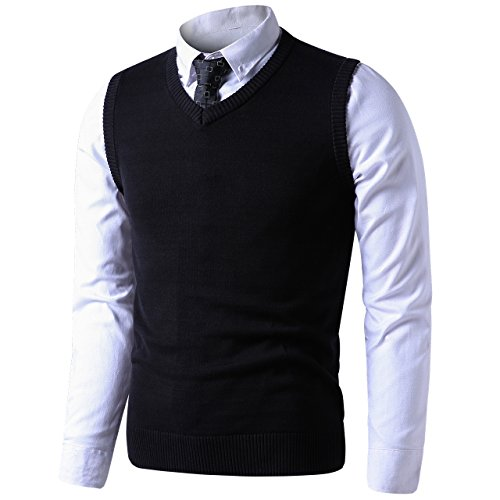 LTIFONE Mens Slim Fit V Neck Sweater Vest Basic Plain Short Sleeve Sweater Pullover Sleeveless Sweaters with Ribbing Edge(Black,M)