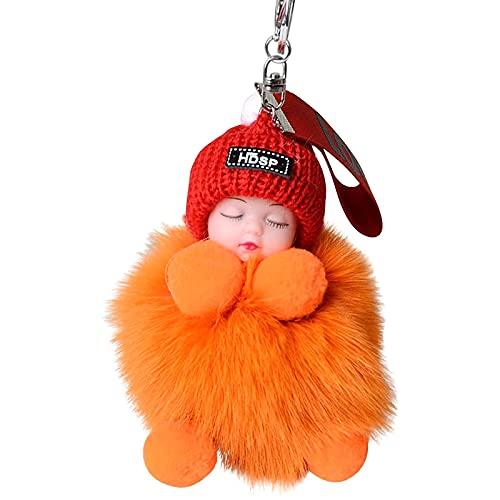 Schlafende Puppe, Schlüsselanhänger, Pompon, Haarball, Schlüsselanhänger, Tasche, Telefon, Auto, Flauschiger Plüsch, hängendes Ornament, Partytütenfüller, Geschenk für Frauen und Kinder