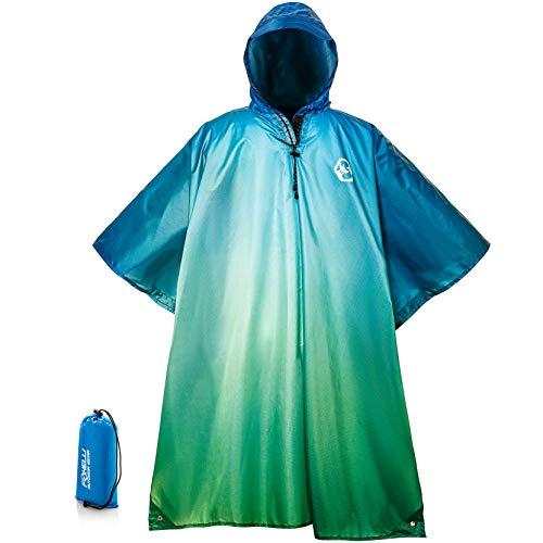 Foxelli Hooded Rain Poncho – Waterproof Emergency Military Raincoat for Adult Men & Women – Lightweight, Multi-Use, Reusable Rain Gear for Hiking, Camping, Fishing, Festivals Blue-Green