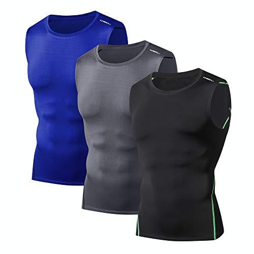LUWELL PRO Herren Kompression Tops 3er Pack ärmellose Sportshirt für Training, Basketball, Fitnessstudio (0621-Black Gray Dark Blue-L)