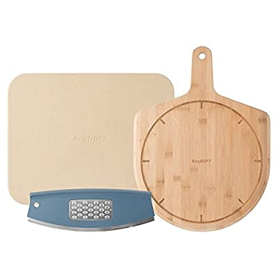 Berghoff Leo Collection | 3-Piece Pizza Set | 15-Inch Cordierite Ceramic Pizza Stone | All-Natural Bamboo Wooden Shovel | Stainless-Steel Pizza Slicer and Cheese Grater