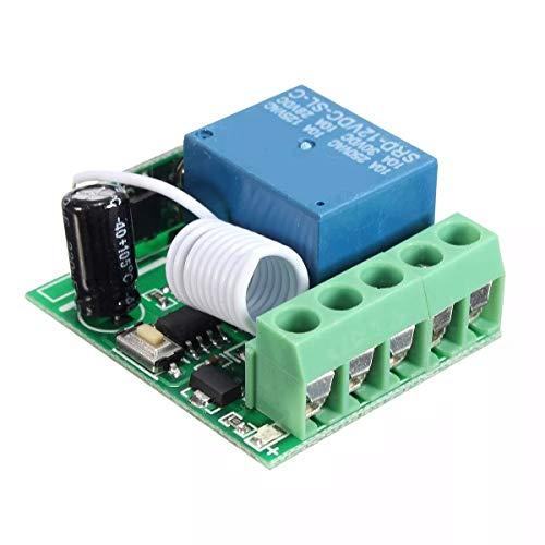 ZXJUAN draadloze bediening, 5 stuks, DC12 V, 10 A, 1 kanalen, 433 MHz, draadloos, RF-afstandsbediening, ontvanger (2 pakketten)