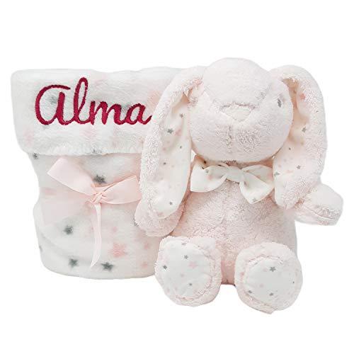 Mababyshop- Set Manta y Peluche Personalizado para regalo de recién nacido | Detalles de Nacimiento Personalizados | Modelo Bunny… (Rosa)