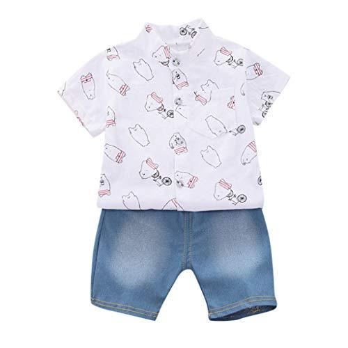 Moneycom - Conjunto de camiseta y pantalón vaquero para niño de manga corta, diseño de oso y camiseta de manga corta + pantalones vaqueros blanco 18-24 Meses