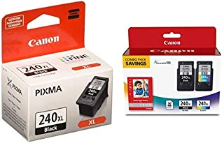 """$76 » Canon PG-240XL Black Ink Cartridge and Canon Fine Cartridge PG-240XL/CL-241XL with Photo Paper Glossy (50 Sheets, 4""""x6"""")"""