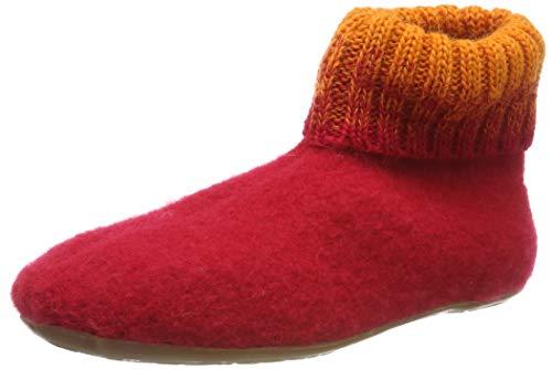 Haflinger Everest Iris, Hausschuhe, Unisex-Erwachsene, reine Wolle, Rot (Ziegelrot 85), 36 EU
