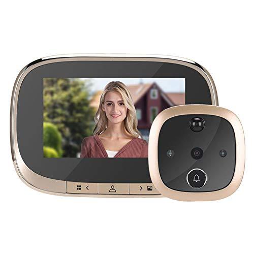 Sbeautli 4,3 Pulgadas de Pantalla LCD a Color de Timbre Digital de 120 Grados de Puerta electrónica de la cámara Visor de visión Nocturna Fácil Instalación (Color : Gold)