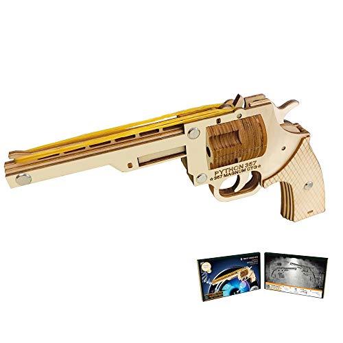 HFXZ2018 DIY Holz-Gewehr mit Gummibänder, Holz BAU 3D-Puzzle Spielzeug, Gun Modellbau-Kits für Kinder, Teenager-Geschenk