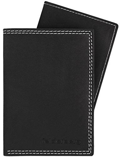 Ledergeldbörse mit viel Stauraum aus geöltem Hunterleder mit herausnehmbarem Kartenfach, Modell 3733, Farbe:Schwarzgrau