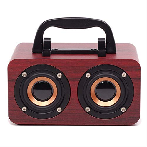 Altavoz Bluetooth Impermeable Audio Portátil Subwoofer Retro Altavoz De Madera Simple Mini Altavoz Bluetooth Inalámbrico Veta de Madera roja