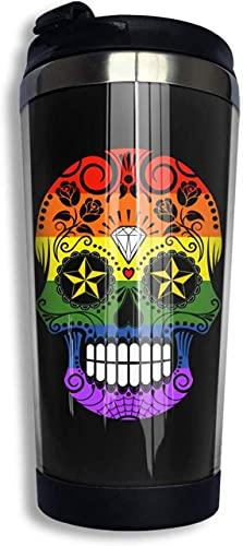 Vasos de viaje de acero inoxidable con calavera arcoíris de Orgullo Gay, botella de agua, taza de café aislada al vacío con tapa, tazas de viaje