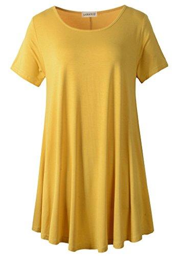 LARACE Women Short Sleeves Flare Tunic Tops for Leggings Flowy Shirt (2X, Yellow)