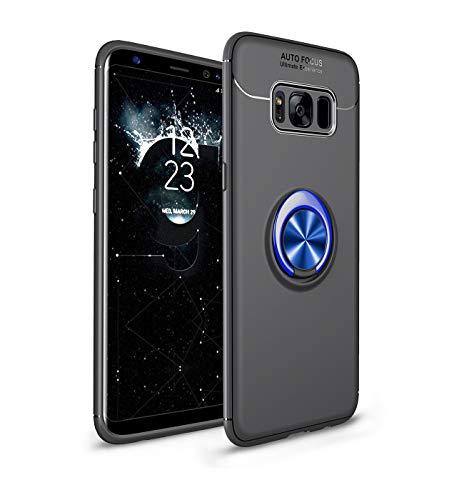 Compatible con Samsung Galaxy S8, funda ligera y suave, de silicona TPU, con anillo de soporte, soporte magnético para teléfono móvil, funda antigolpes negro azul Talla única