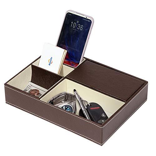 Bonlife 4 Compartimentos Multifunzionale Organizador de Escritorio Se Utiliza para Almacenar Teléfonos Móviles, Gafas, Cambio 25.5X18.5X5.3CM Marrón