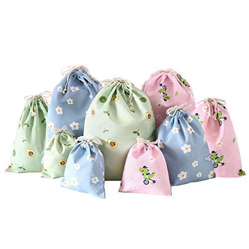 None/Brand Heiqlay Stoffsäckchen mit Zugband, Geschenksäckchen Stoffbeutel wiederverwendbarer Atmungsaktive Aufbewahrungsbeutel zur Aufbewahrung, kleine Geschenke, Süßigkeiten, Reisekleidung, 9 Stück