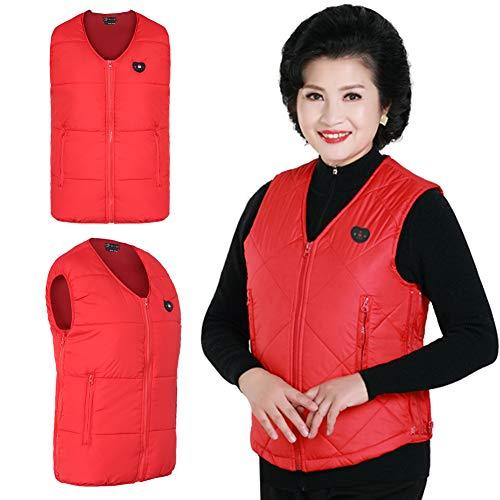 Verwarmd vest USB LED-display Intelligente elektrische verwarming Mouwloze jas Buiten warm houden Thermo-jas Winterkleding-outfit (ronde kraag-XL)
