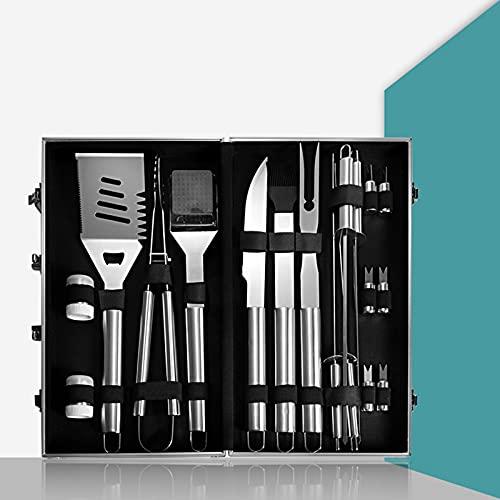 413B mv79+S. SL500  - T TOOYFUL BBQ Grillzubehör Werkzeug-Set, 18-teiliges Hochleistungs-Edelstahl-Grillgerät mit Koffer, Grillwerkzeug Grill-Set für Vatertagsgeschenk Tools