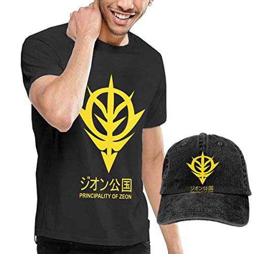 AYYUCY Camicie e T-Shirt Sportive, Top e Bluse, Principality of Zeon Gundam Man's Casual Short Sleeve with Cowboy Hat cap