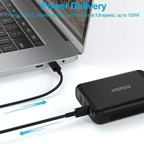 Ameriguy Ladegerät USB C 150 W, Ladegerät 100 W, Wandmontage, 2 USB-Ports C + 22,5 W, 2 USB-Ports A Power Delivery 3.0 & QC 3.0 für iPhone 12/11/11 Pro / 11 Pro Max, MacBook/iPad Pro, Airpods Pro