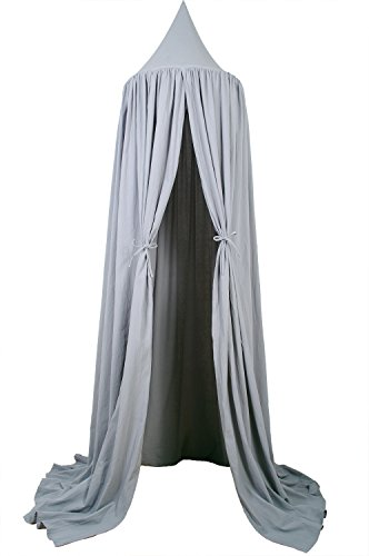 """7'10"""" Bed Canopy for Kids Reading Play Tents 100% Fine Cotton Canopy (Thick Grey)"""