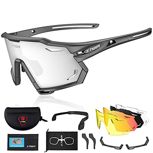 X-TIGER Gafas de Ciclismo con 5 Lentes Intercambiables Montura TR90 Gafas de Bicicleta , Moto MTB Bicicleta Carrera de béisbol, Escalada Deportes al aire libre Gafas