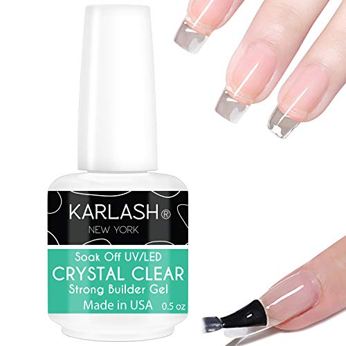Karlash Brush On Builder Gel UV/LED Soak Off Build It Gel Strong Gel Crystal Clear for Sculpting Nail Extension and Strengthening Natural Nails 0.5 oz (1 Piece)