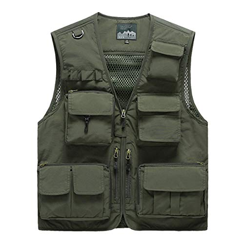 YDSH Mens Vest Outdoor Vest Safari Practical Zipper Multi Pocket Mesh Breathable Camping Hunting Fishing Photography Hiking Vest Army Green