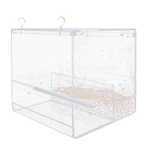 YJS Automatische Vogelvoedervoer Gereedschap Voedervoer Acryl Voedselcontainer Splashproof Opslag, M, Helder