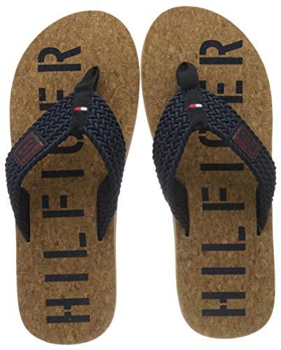 Tommy Hilfiger Casual Cork Beach Sandal, Sandalias con Punta Abierta para Hombre, Azul (Desert Sky Dw5), 43 EU