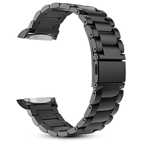 FINTIE Correa Compatible con Samsung Gear S2 (SM-R720/SM-R730) - 20mm Pulsera de Repuesto de Acero Inoxidable Sólido Banda de Metal con Cierre Plegable Duradero, Negro