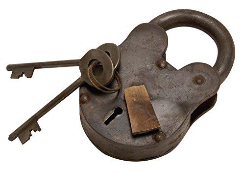 "Deco 79 01103 Metal Brass Lock & Keys 2"" H,1.25"" W-01103, 2"" x 1.25"", Iron"