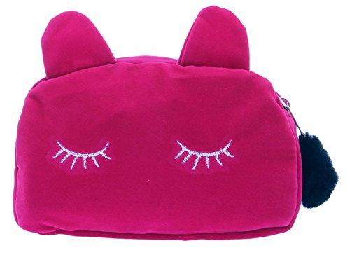 Xiang Ru Femme Porte-Monnaie Tissu Trousse de Toilette Zippé Motif Chat Mignon Sac à Main Organisateur Cosmétique Crayon Coin Clés Rouge Rosé