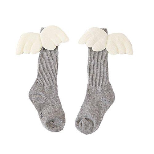 Elonglin Meias longas unissex para bebês e crianças com asas de anjo selecionadas, meias até o joelho, meias com pés, meias sociais com asas de anjo cinza claro 7 – 12 anos