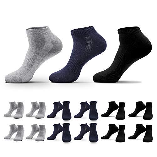 QINCAO 12 Paar Sneaker Socken Herren Damen Sportsocken Baumwoll Unisex Schwarz Grau Navy blau, 43-46
