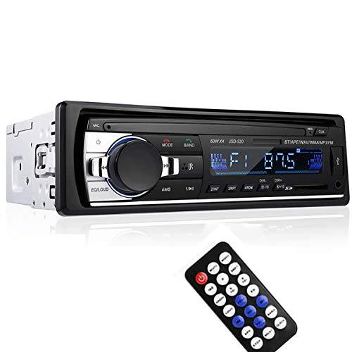 VIGORFLYRUN PARTS LTD Autoradio Universale 1 DIN MP3 Stereo, 12V Auto Audio Stereo Vivavoce Supporta Bluetooth/FM/USB/TF/Aux in/Telecomando 520