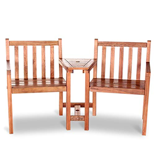 BillyOh Jack 'N' Jill Wooden Companion Love Seat - 2 Seater Garden Bench with Table | Garden LoveSeat with Small Table and Parasol Hole