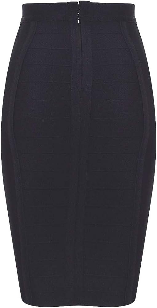 Nayssi Women's High Waist Wear to Work Pencil Skirt Bandage Bodycon Midi Skirt