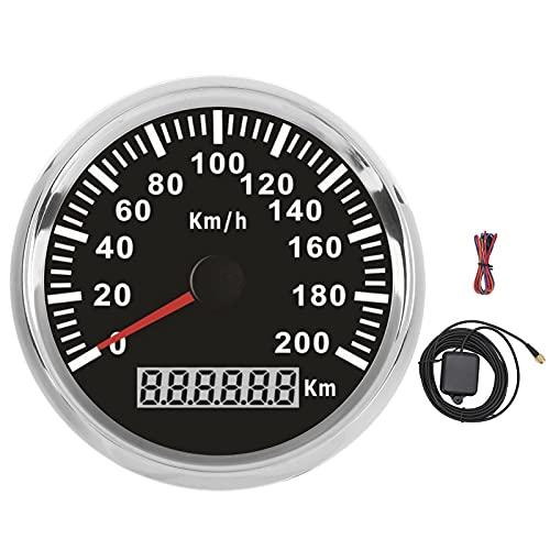 Velocímetro, 3‑3 / 8in 12 V / 24 V 200 km/h Indicador de velocidad de retroiluminación roja impermeable GPS para barco, yate, motocicleta, vehículo