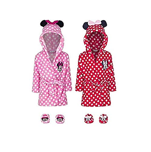 Minnie Mouse Baby Bademantel + Hausschuhe Geschenk-Set, Farbe:Rot, Größe:9-12 Monate