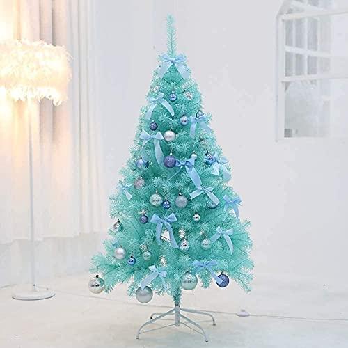 FHKSFJ Árbol de Navidad preiluminado con luz LED Artificial Azul y Soporte de Metal con Bola Decorativa(Color:Blue,Size:6Ft(180CM))