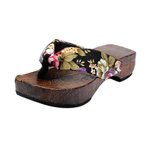 Damen Sandalen Ronamick Sommer-Plattform Schuhe Holz Damen Sandalen Clog Holz Schuhe Flip Flops (40, Schwarz)