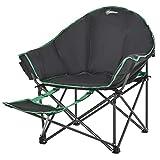 Outsunny Campingstuhl Klappstuhl mit höhenverstellbarer Fußstütze Oxford-Gewebe belastbar bis 160 kg Schwarz+Grün 139,5 x 85 x 93 cm